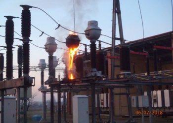 Pożar na terenie stacji transformatorowej